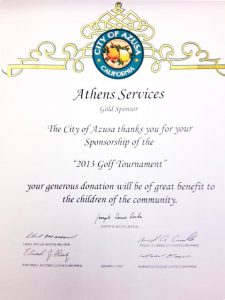 "Athens Services recognized by Azusa City Council for their support of the first ""Kids Come First Golf Tournament"" - Community Recognitions, Honors, and Awards"