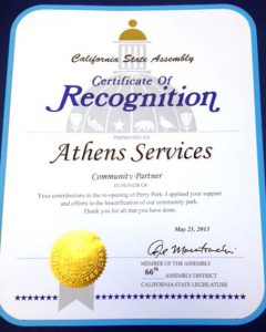 California State Assembly Certificate of Recognition to - Athens Services - May 21, 2013 Community Partner Award, Perry Park, Redondo Beach - Community Recognitions, Honors, and Awards