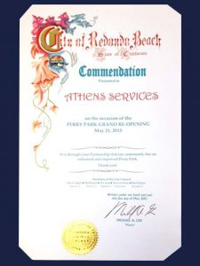 City of Redondo Beach Commendation to - Athens Services - Community Partner Award – May 21, 2013 Perry Park in Redondo Beach - Community Recognitions, Honors, and Awards