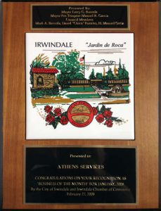 """2008 Business of the Month"" - Athens Services - awarded Irwindale Chamber of Commerce - 2008 Business of the Month - Community Recognitions, Honors, and Awards"