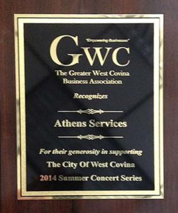 City of West Covina Honors Athens Services October 2014 - Community Recognitions, Honors, and Awards
