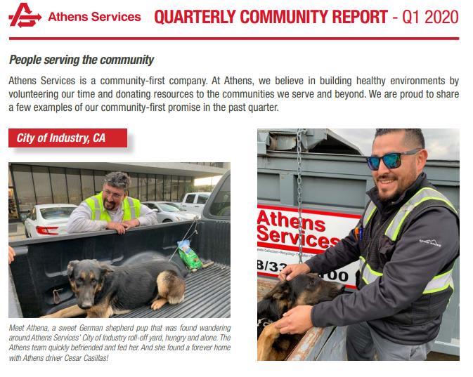 QUARTERLY COMMUNITY REPORT - Q1 2020